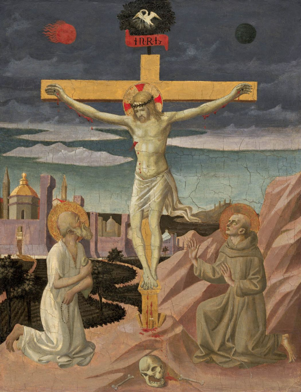 Pesellino, Francesco: The Crucifixion with Saint Jerome and Saint Francis. Fine Art Print/Poster (004177)